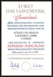 Ehrenurkunde Betriebsjubiläum Söker und Berlin Voerde